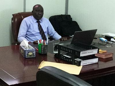 Moderator Rev. Peter Gai Lual in his new office