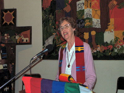 Irene preaching in 2003