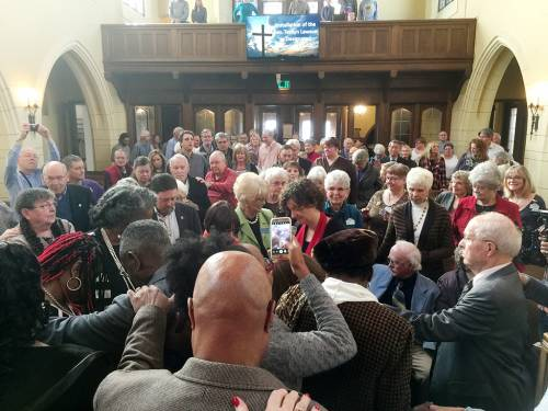 The laying on of hands at the Rev. Terilyn Lawson's installation service, October 23, 2016. (Photo by Larry Greenslit)
