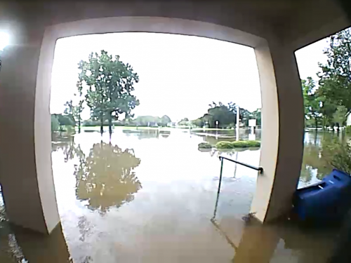 A security camera captured the rising water at the Presbytery of South Louisiana in Baton Rouge. One to four feet of water is believed to have gotten into the building. (Photo courtesy the Presbytery of South Louisiana)