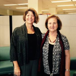 The Rev. Dr. Laurie Kraus, director of Presbyterian Disaster Assistance, recently hosted Dr. Mary Mikhael at the Presbyterian Mission Agency offices in Louisville. (Photo by Rick Jones)