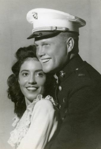 Wedding photograph of Annie Castor and John Glenn, 1943. (Photo courtesy the John Glenn Archives, Ohio State University)