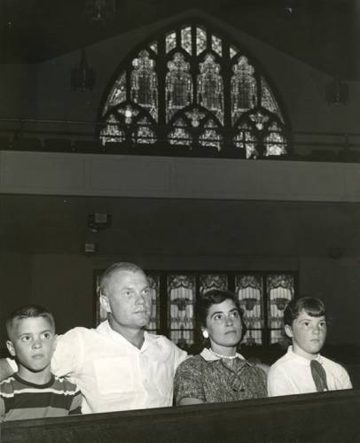 The Glenn family attends College Park Presbyterian Church, circa 1950s. (Photo courtesy the John Glenn Archives, Ohio State University)