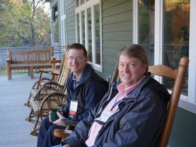 Peter Newbury (at left), Camp Operations Director, Dwight Mission Camp and Conference Center with Scott Henderson, Director of Operations, Upper New York Camp & Retreat Ministries, also a member of the PCCCA board. (Photo by Emily Enders Odom)