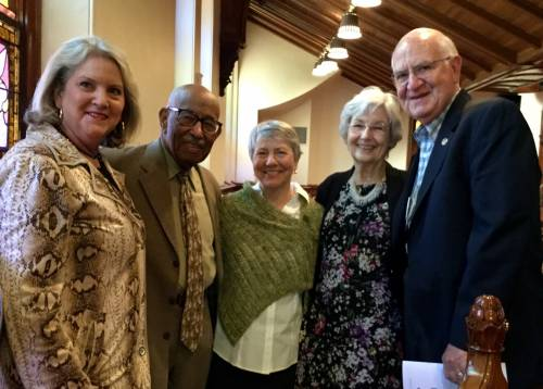 Leaders gathered at the 2016 GA in Portland, Oregon: Michele Hendrix, POAMN President; Rev. Dr. James Foster Reese, Chair of the Strategic Planning Committee for ARMSS and past President; Jan McGilliard, POAMN Certification Leader, Bette Young, and Bill Young, POAMN GA Liaison. Photo provided.