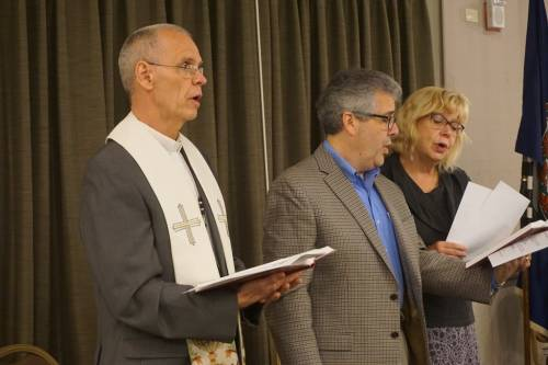 From left to right: Tom Tickner, David McCollum, Annie Tarbutton lead closing worship. (Photo by Emily Enders Odom)