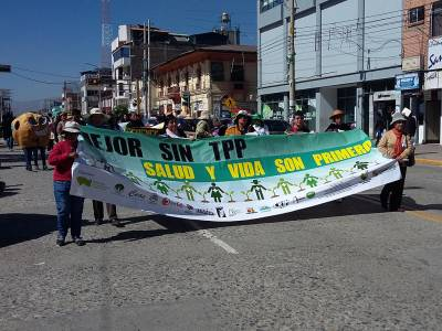 In a march organized by Joining Hands Peru (Red Uniendo Manos Peru), residents of La Oroya protest the Trans-Pacific Partnership, a trade agreement that aims to provide greater rights to foreign investors, potentially allowing them to avoid their environmental responsibilities by suing the countries in which they operate in a foreign tribunal if they disagree with regulations. (Photo by Jed Hawkes Koball)