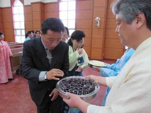National Council of Churches in Korea and Korean Christian Federation celebrate communion at Bongsu Church in Pyongyang, North Korea. Photo by Rev. Hye Min Roh.