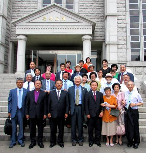 Delegates of the NCCK (South Korea) and the KCF (North Korea) in front of Bongsu Church for the Joint South-North Worship for Reconciliation on the Korean Peninsula. Photo by Rev. Hye Min Roh.