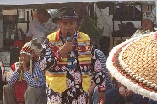 Tribal leaders from around the United States speak to those gathered to protest the construction of the Dakota Access Pipeline near the Standing Rock Sioux reservation. (Photo by Paul Henschen)