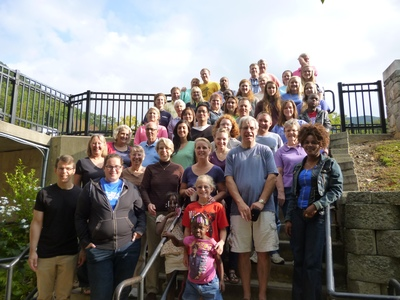 Members of Starmount Presbyterian Church in Greensboro, N.C., gather for a photo at Montreat.
