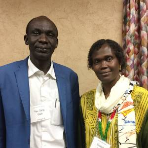 The Rev. Deng Gach and Elizabeth Aluk Andrea, speakers at the 2016 Presbyterian Sudan/South Sudan Mission Network gathering in Louisville. (Photo by Gregg Brekke)