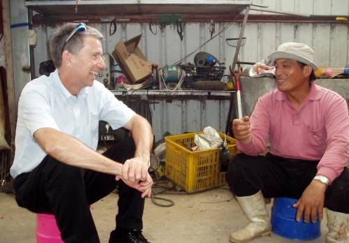 John McCall talks with a Bunun tribal elder in Taiwan. Photographer unknown.