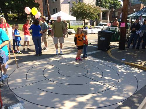 Members of Emsworth United Presbyterian Church, one of the congregations who participated in The Unglued Church, created a prayer labyrinth at a community fair to introduce their neighbors to the spiritual practice. Children especially loved the 'maze where nobody can get lost!' Photo by Susan Rothenberg