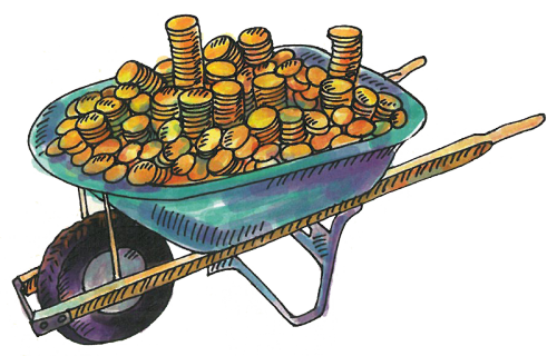 Illustration of wheelbarrow filled with coins