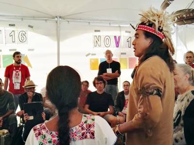 WSF participants hear from Native Americans regarding their struggles for land and water. (Photo: WCC-EWN)