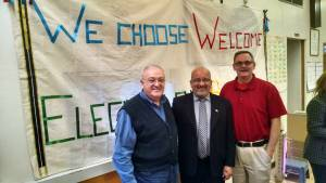 """Why Choose Welcome in a Time of Fear?"" forum panelists Rev. George Bitar, of the Middle Eastern Fellowship, Mayor Danny Ortega of Douglas, and Rev. Brad Munroe, pastor in the Presbytery de Cristo"