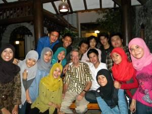 Bernie (center) with Muhammadiyah University Yogyakarta students
