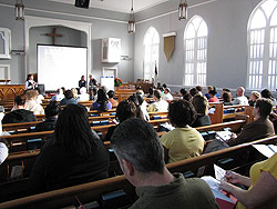 People sitting in church