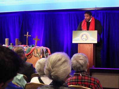 The Rev. Dr. William Barbour opens the Ecumenical Advocacy Days Weekend on Friday evening. —Rick Jones