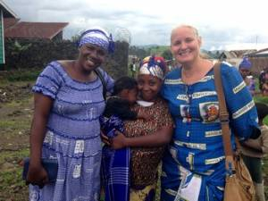 Sifa and her son with Jeanne Banyere, one of the ECC women leaders in East Congo, and Christi Boyd