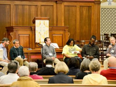 "Open panel discussion at New York Avenue Presbyterian Church entitled ""Diverse Voices: Collective Power."" Left to Right: Hunter Farrell, with World Mission, Conrado Oliviera, Danny Cendejas, Doreen Hicks, Blain Snipstal and Andrew Kang Bartlett with the Presbyterian Hunger Program. —Paul Olson"