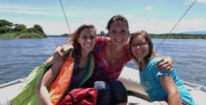 Hannah (middle) with her fellow Young Adult Volunteers in Zambia, Rebecca and Devin