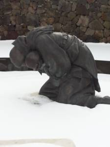 This statue at the 4/3 Peace Memorial is of a mother and child shot and left in a snow bank by South Korean soldiers while fleeing their village