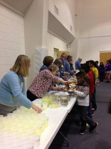 Handing out refreshments at First Presbyterian Church in Shelbyville, Kentucky.