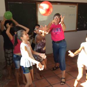 One of Dorothy's English classes playing a game during the Children's Day party