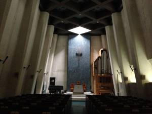Hokusei University Chapel; note how the light radiates into a triangle: Immanuel, God with us‹Father, Son, and Holy Spirit