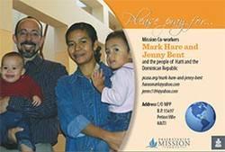Mark Hare and Jenny Bent prayer card