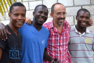 Key team members for the MPP-FONDAMA Yard Garden Program. Herve Delisma, second from left, is the primary leader for carrying out the program for the rest of 2015. Verettes, Haiti. March 2015. (Photo by Cindy Corell)