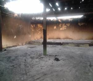 The inside of one of EERN's burned churches in Niamey, Niger (photo credit: Issaka Moussa)