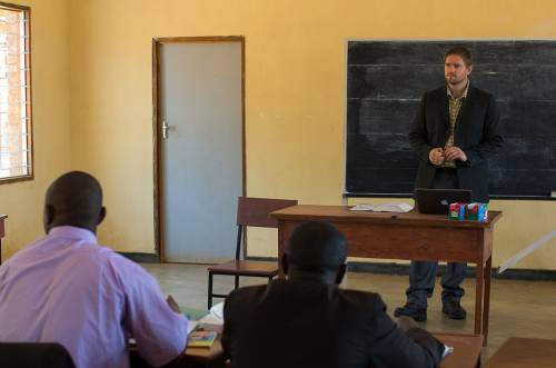 Tyler Holm during a lecture recently at the Faculty of Theology