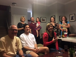 Dinner with family and friends at the home of Meagan and Eric Schwartz