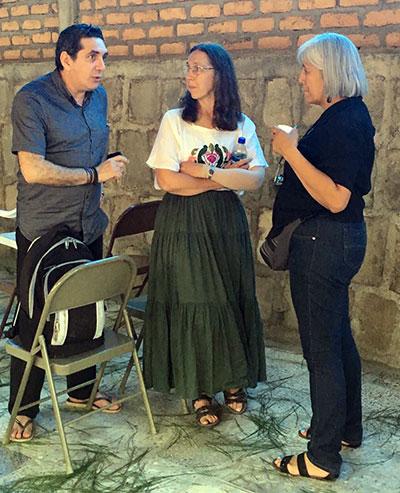 Valdir Franca, Karla Koll and Nidia Fonseca on a break during the workshop in Honduras