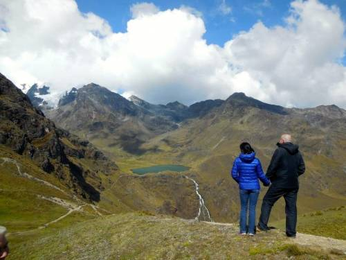 Jed and Jenny look out toward the Huaytapallana glacier, which is rapidly melting.