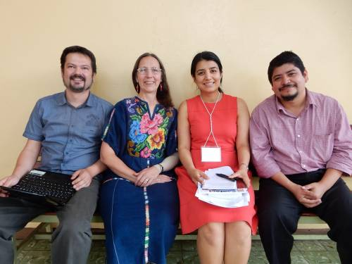 Karla (second from the left) with researchers Adrian Tovar (Mexico), Gaby Ochoa (Guatemala) and Carlos Aguirre (Nicaragua)