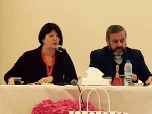 The Rev Dr. Laurie Kraus participates in discussions about the civil war in Syria with the Rev. Fadi Dagher, of the Evangelical Synod of Lebanon and Syria. —Presbyterian Disaster Assistance