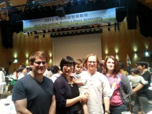 Hyeyoung, Kurt, and Sahn attend the Peace Symposium with Kalyn and Jordan