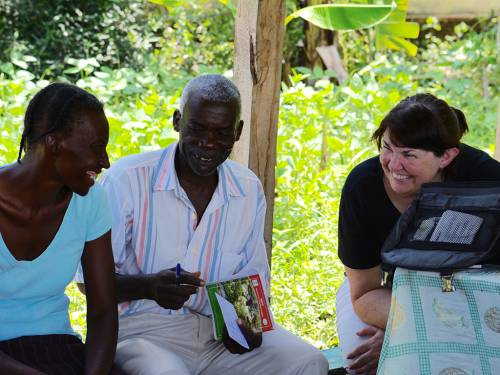 Mission co-worker Cindy Corell (right) working with partners in Haiti. (Photo provided)