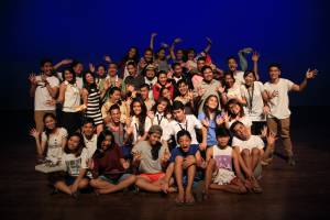 Wacky pose for the cast and staff of Scharon Mani who came from eight different schools in Dumaguete City and are now a community of friends and co-workers