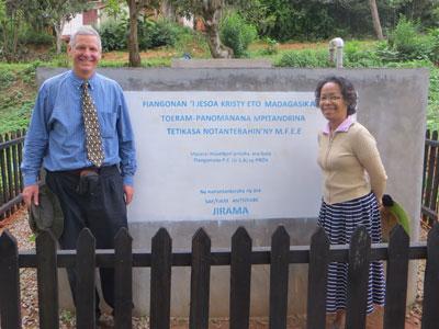 Dan and Pastor Haingo at the FJKM Seminary in Fianarantsoa