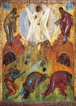 A painting of Jesus clothed in white with Moses on one side and Elijah on the other while the disciples are bowing in front of them.