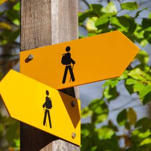 Two direction signs pointing in different directions