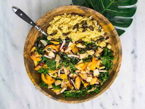 bowl of quinoa and vegetables