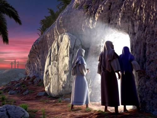 3 women standing at the bright empty tomb of Jesus Christ early Sunday morning, with Golgotha in the background.