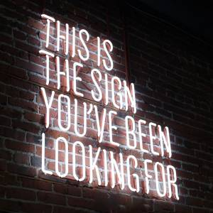 Neon sign on brick wall that reads 'This is the sign you've been looking for'