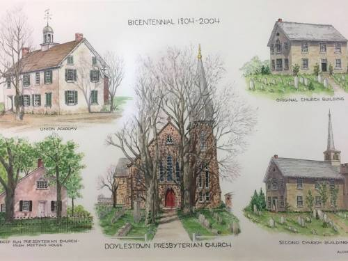 Postcard showing several sketches of Doylestown Presbyterian Church through the years